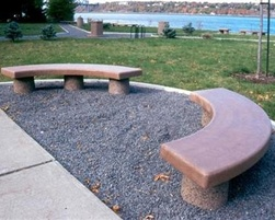 Concrete curved bench without back - C-0304
