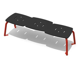 Jazz Bench 3 pl. backless, 4 legs, AL (H-13011)