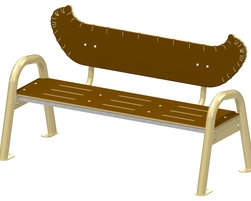 Canoe bench 3 pl. with backrest, AL (H-20001)